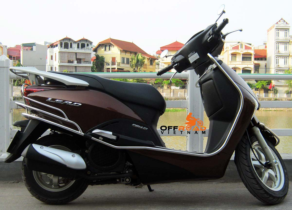 Hanoi Scooter Rental - Brown Honda Lead 110cc scooter hire in Vietnam.