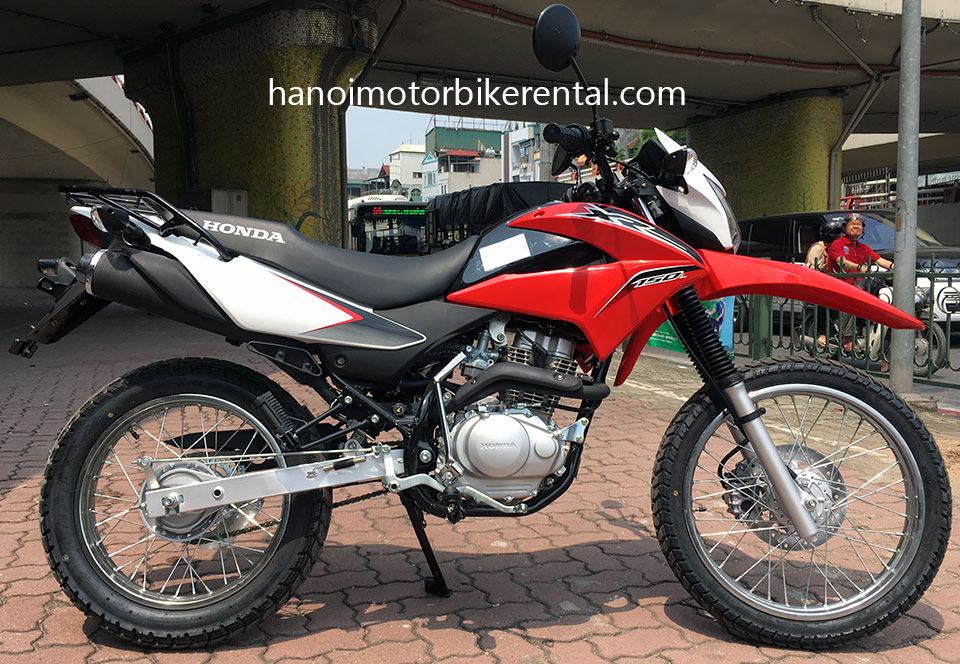 Honda XR150 For Rent In Hanoi - Hanoi Motorbike Rental. 2016 Honda dirt (trail) bike Honda XR150 150cc Red & White, front disc brake, back drum brake