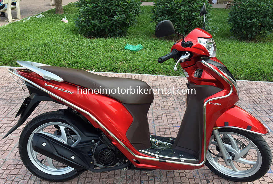 Offroad Vietnam Scooter Rental - Honda Vision 110cc For Rent in Hanoi, 2015 red color. Honda automatic scooter, blue Honda Vision 110cc with stainless steel protection frame.