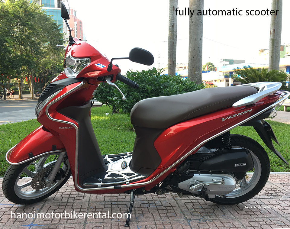 Hanoi Motorbike Rental - Fully-automatic scooters 110-110cc for rent in Hanoi, Northern Vietnam like Honda Vision 110cc, Honda Lead 125cc, Honda Blade 125cc.